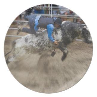 Bull rider thrown off bull plate