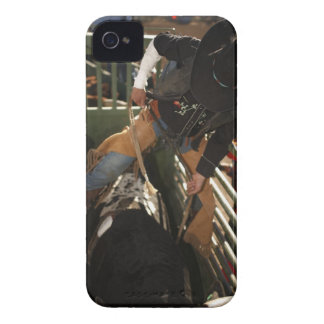 Bull rider tying rope on bull in the chute iPhone 4 Case-Mate case