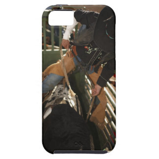 Bull rider tying rope on bull in the chute iPhone 5 cases