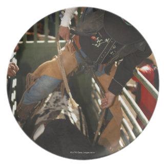 Bull rider tying rope on bull in the chute plate