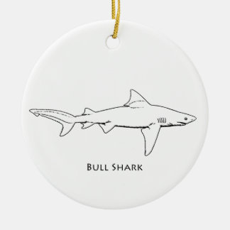 Bull Shark (line art) Christmas Ornament