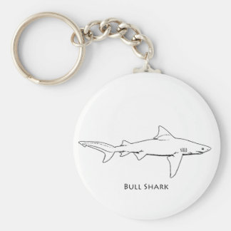 Bull Shark (line art) Key Ring