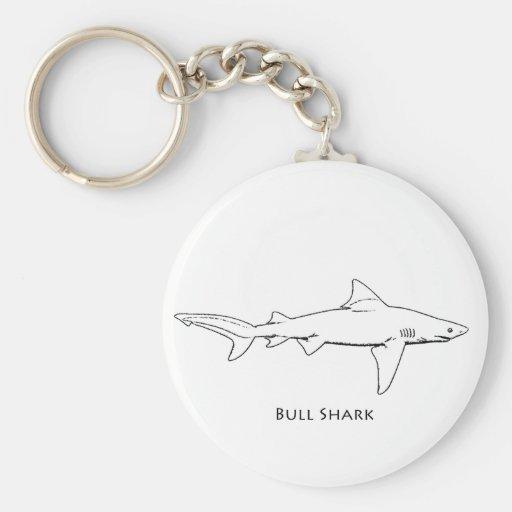 Bull Shark (line art) Keychains