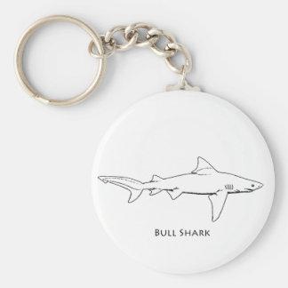 Bull Shark line art Keychains