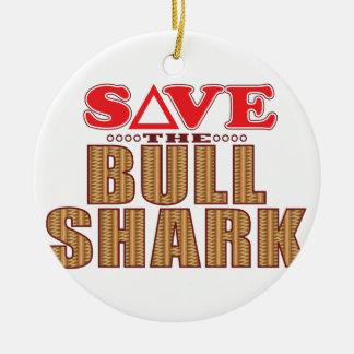 Bull Shark Save Round Ceramic Decoration