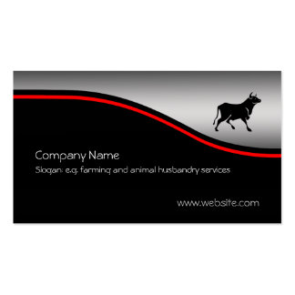 Bull Silhouette, red swoosh on metallic-look Pack Of Standard Business Cards