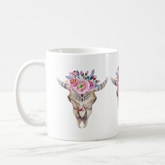 Bull Skull And Colorful Roses And Buds Coffee Mug