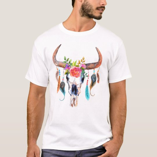 Bull Skull Flowers & Feather Watercolors T-Shirt