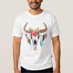 Bull Skull Flowers & Feather Watercolors Tee Shirts