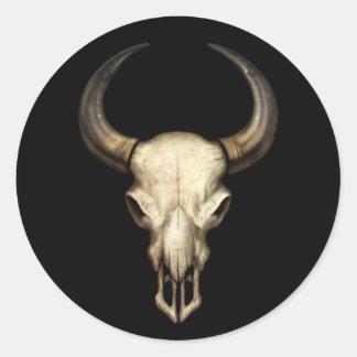 Bull Skull on Black Round Sticker
