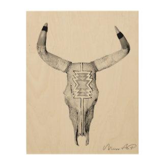 Bull Skull on Wood Wood Prints