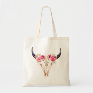 Bull Skull with Pink Flowers