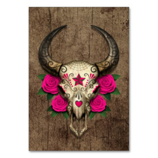 Bull Sugar Skull with Pink Roses on Wood Graphic Table Cards