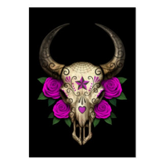 Bull Sugar Skull with Purple Roses on Black Pack Of Chubby Business Cards