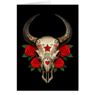 Bull Sugar Skull with Red Roses on Black Cards