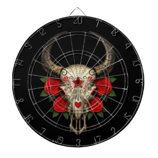 Bull Sugar Skull with Red Roses on Black Dartboard