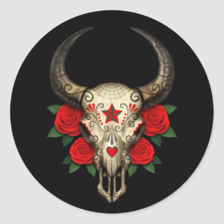 Bull Sugar Skull with Red Roses on Black Round Sticker
