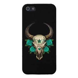 Bull Sugar Skull with Teal Roses on Black Case For The iPhone 5