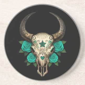 Bull Sugar Skull with Teal Roses on Black Coaster