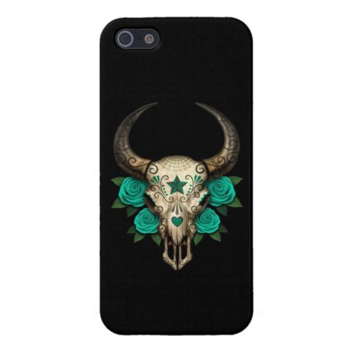 Bull Sugar Skull with Teal Roses on Black Covers For iPhone 5