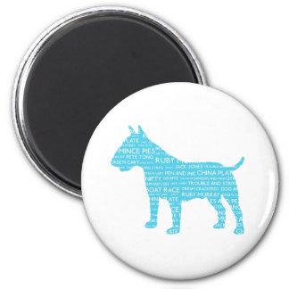 Bull Terrier Blue London Slang Cockney 6 Cm Round Magnet