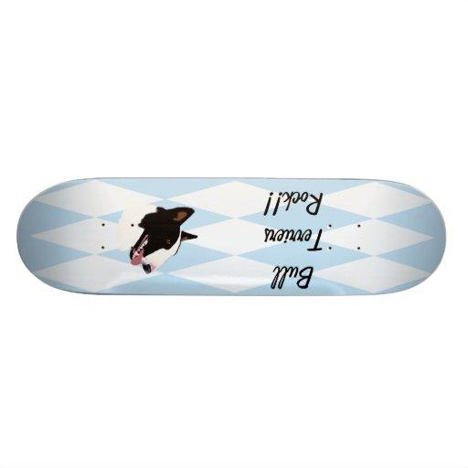 Bull Terrier ~ Blue w/ White Diamonds Design Skate Decks