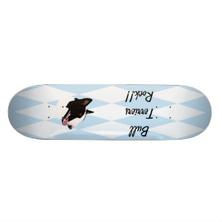 Bull Terrier ~ Blue w/ White Diamonds Design Skateboard Deck