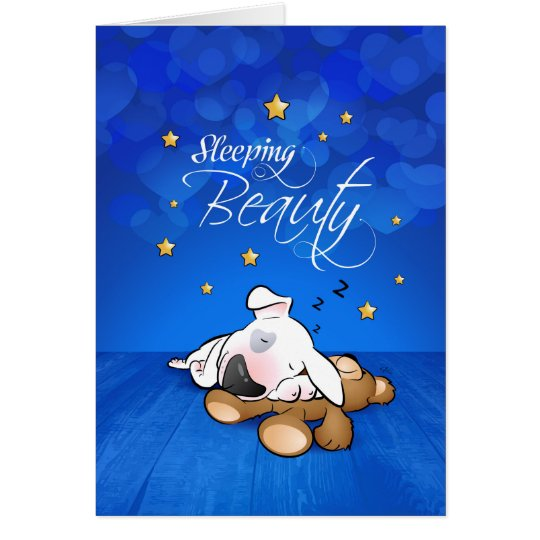 "Bull Terrier Cartoon Card ""Sleeping Beauty"""