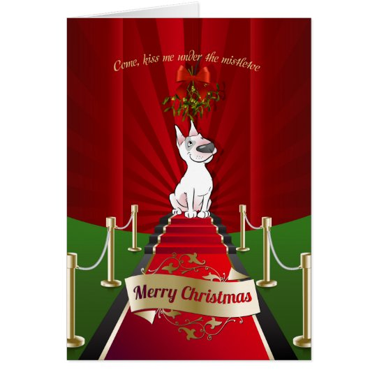 Bull Terrier Cartoon Christmas Greeting Card