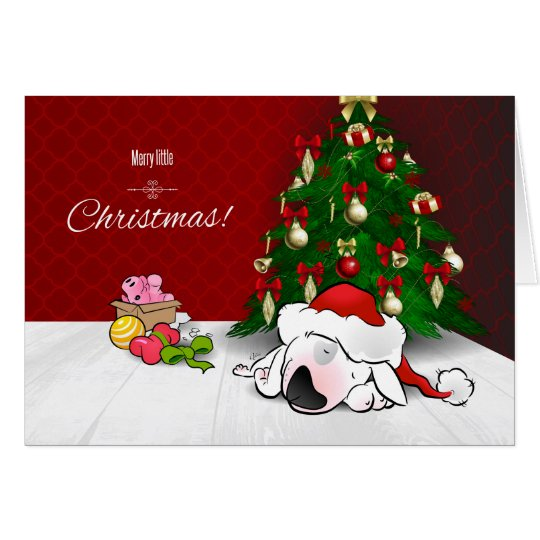 Bull Terrier Cartoon Christmas Greeting Card