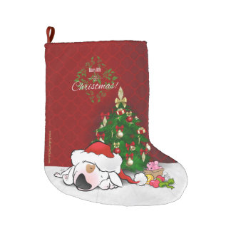 Bull Terrier Cartoon Christmas Stocking