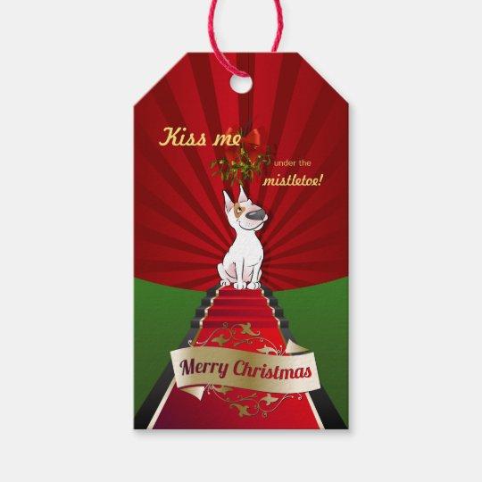 """Bull Terrier Christmas Gift Tag """"Mistletoe"""""""