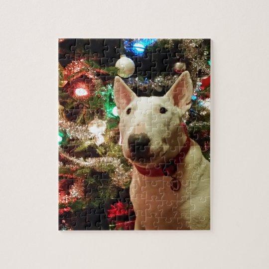 bull terrier Christmas present tree Jigsaw Puzzle