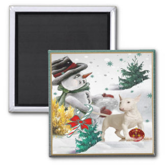 Bull Terrier Christmas with Snowman Magnet