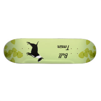 Bull Terrier ~ Green Leaves Design Skate Board Deck