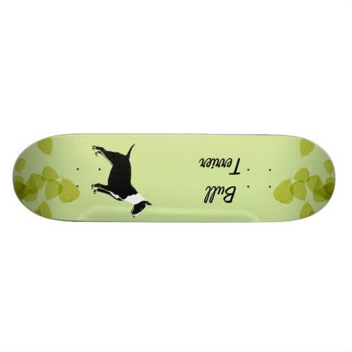Bull Terrier ~ Green Leaves Design Skate Board Deck