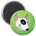 bull terrier head 6 cm round magnet