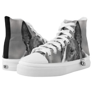Bull Terrier high top tennis shoes Printed Shoes