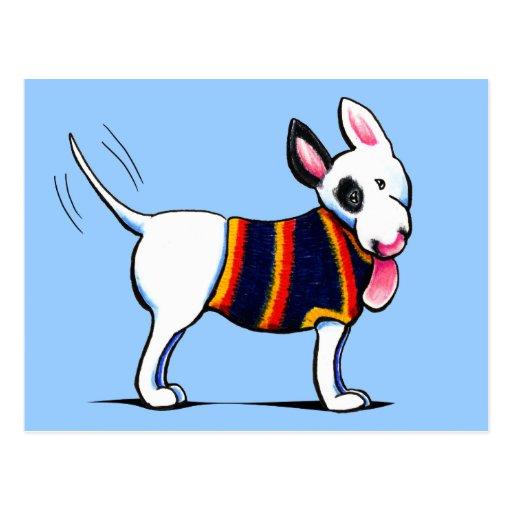 Bull Terrier in Blue Postcard