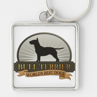Bull Terrier Silver-Colored Square Key Ring