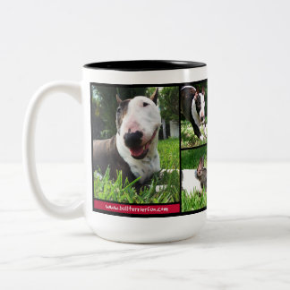 "Bull Terrier ""Live Love Laugh"" photo mug"