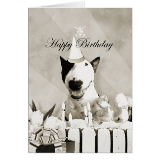 "Bull Terrier Photo Card ""Happy Birthday"""