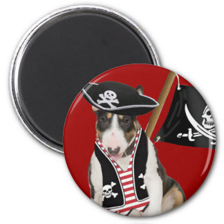 Bull Terrier Pirate Gifts 6 Cm Round Magnet