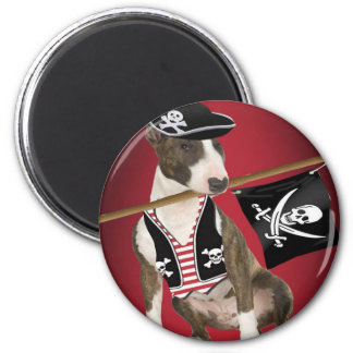 Bull Terrier Pirate Gifts Refrigerator Magnet
