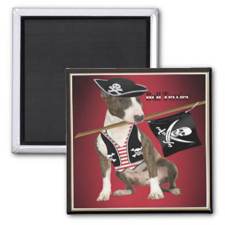 Bull Terrier Pirate Gifts Square Magnet