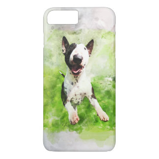 Bull Terrier puppy watercolor painting iPhone case