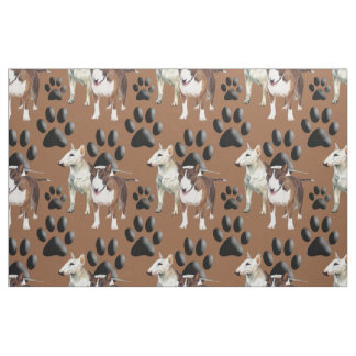 Bull Terrier seamless repeating pattern fabric