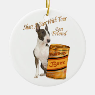 Bull Terrier Shares A Beer Christmas Ornament