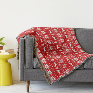 Bull Terrier Silhouettes Christmas Pattern Red Throw Blanket