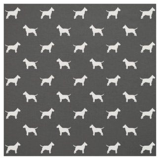 Bull Terrier Silhouettes Pattern Fabric